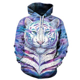 Colorful Tiger 3D FullPrint Sublimation Men Women PullOver Hoodie