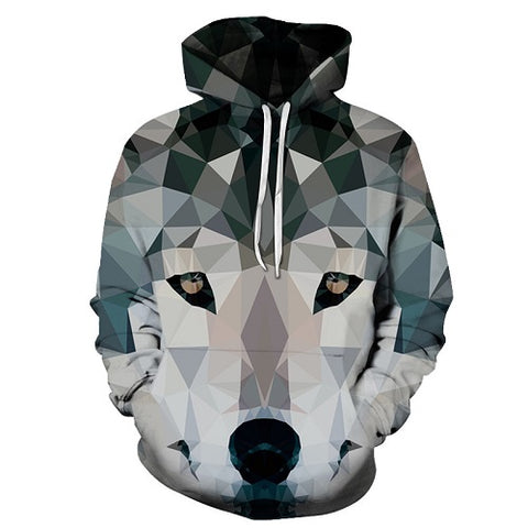 Diamond Wolf Printed 3D Hoodies Men Women PullOver