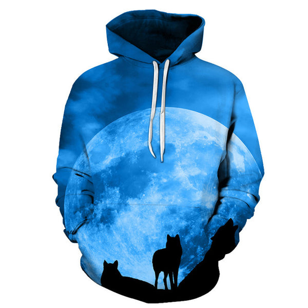 Galaxy Wolf Printed 3D Hoodies Men Women PullOver