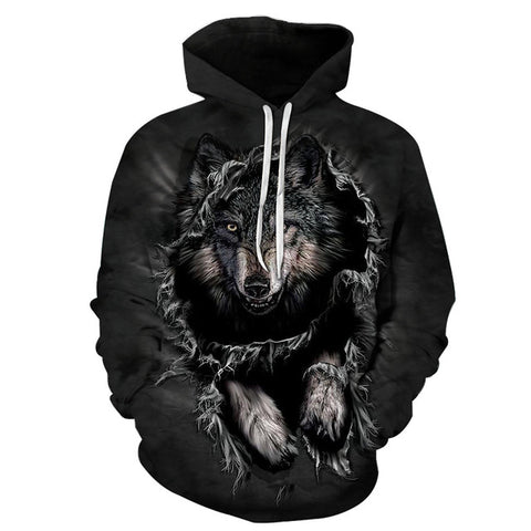 Mountain Wolf Hoodies 3D Men Women PullOver