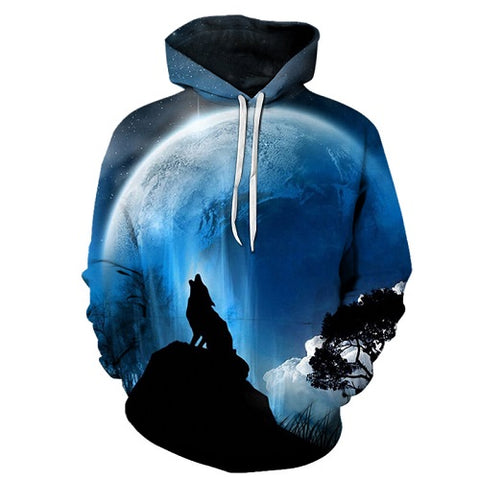 Moon Wolf  Hoodies 3D Men Women PullOver