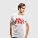 Men's Premium T-Shirt I Love Country Music