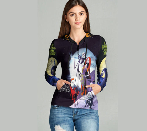 The Nightmare Before Christmas 3D Full Print Sublimation Women Zipper Hoodie Art 07