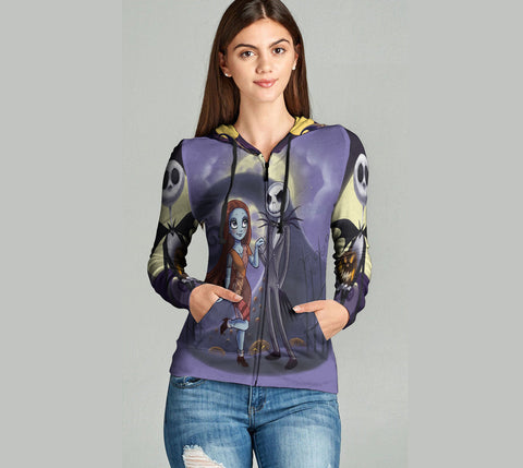 The Nightmare Before Christmas 3D Full Print Sublimation Women Zipper Hoodie Art 06