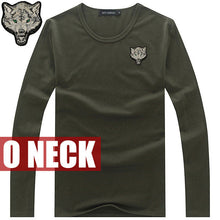 2017 Brand Men's Wolf embroidery Tshirt Cotton Long Sleeve T Shirt Spring Autumn Casual Men's O neck Slim T-Shirts Size S-5XL