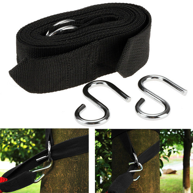 2pcs Hammock hanging belt hammock strap rope with metal buckle Hook