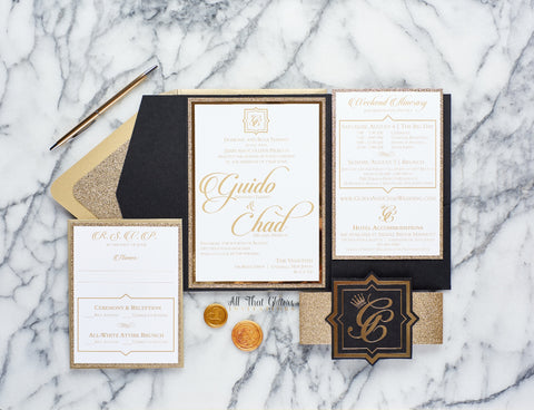 Extravagant Wedding Invitation Black and Gold Glitter