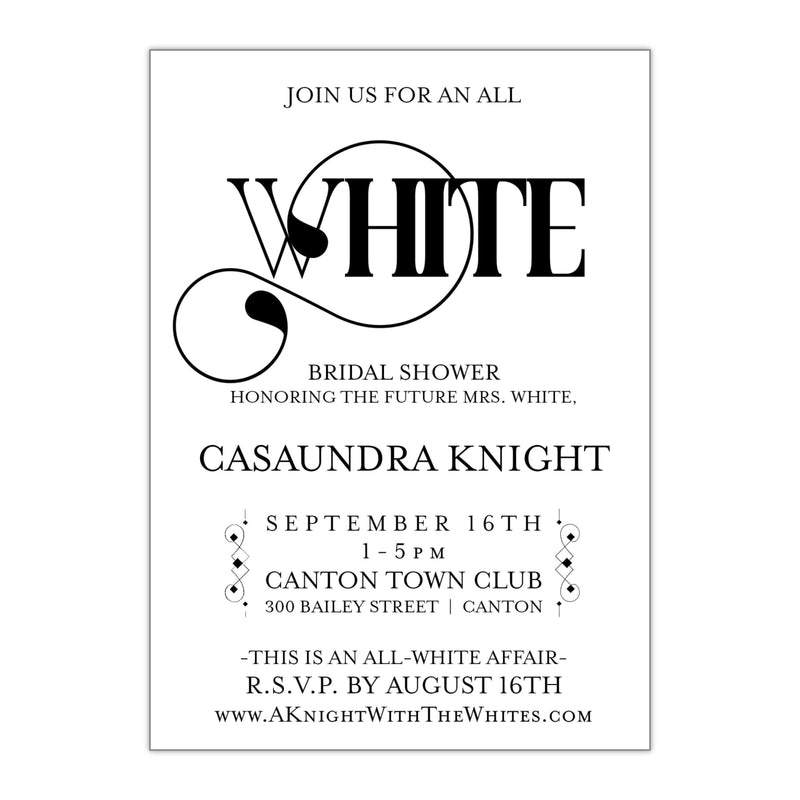 All White Party Bridal Shower Invitation - All That Glitters Invitations