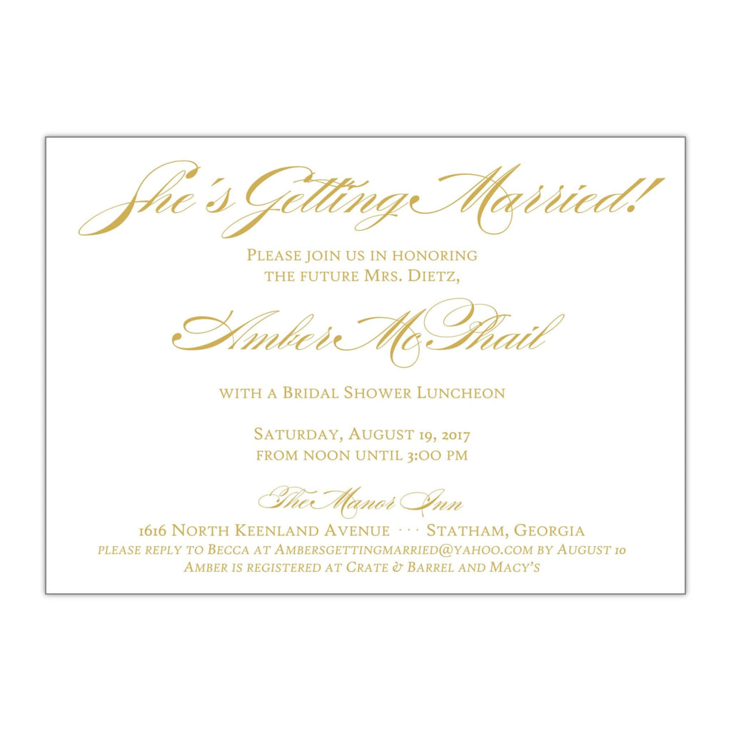 Amber | Bridal Shower Invitation - All That Glitters Invitations
