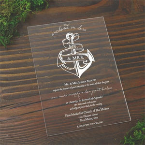 Anchor Acrylic Wedding Invitation - All That Glitters Invitations