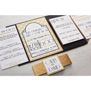 Art-Deco Wedding Invitation with Glitter - All That Glitters Invitations