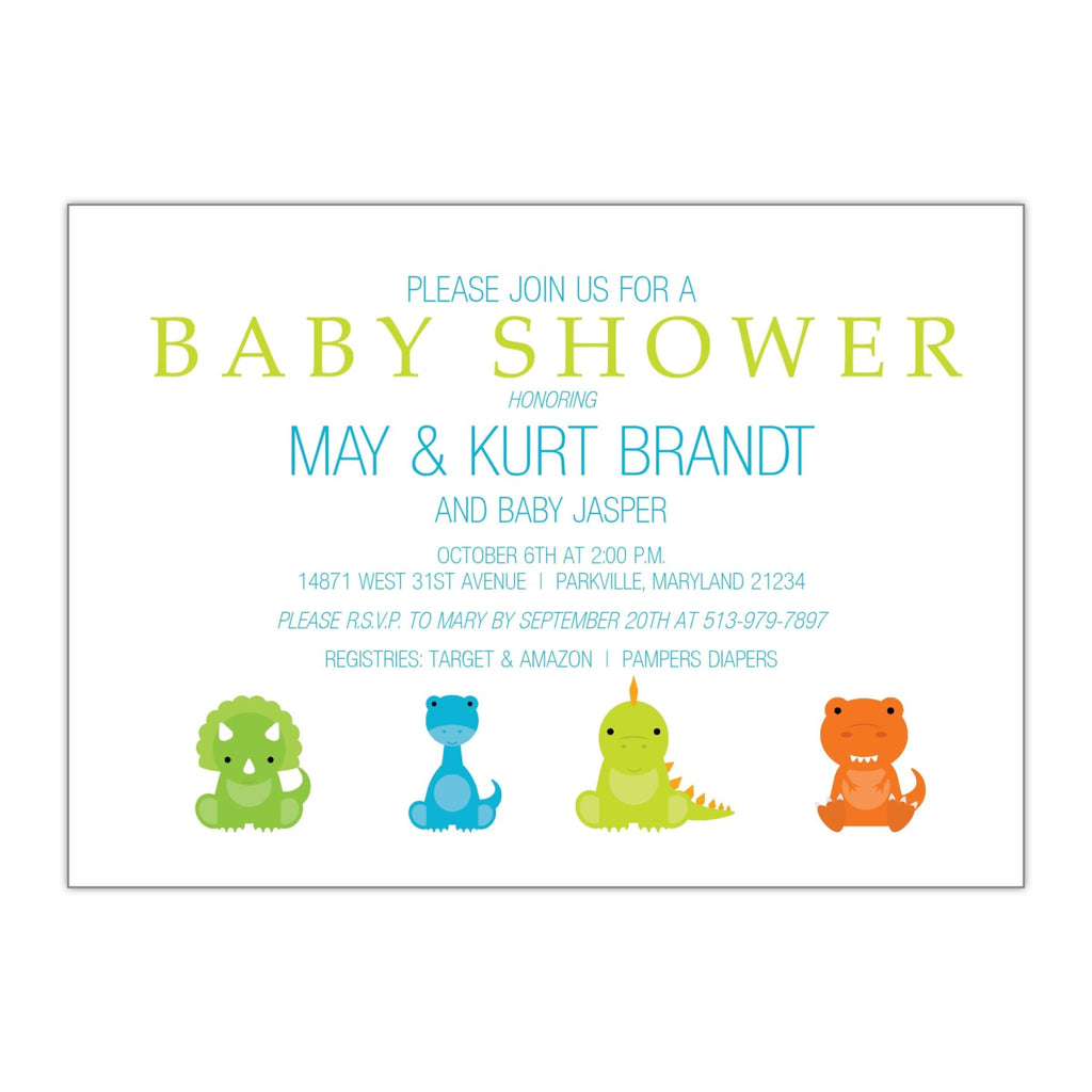 Baby Dinosaurs | Baby Shower Invitation - All That Glitters Invitations