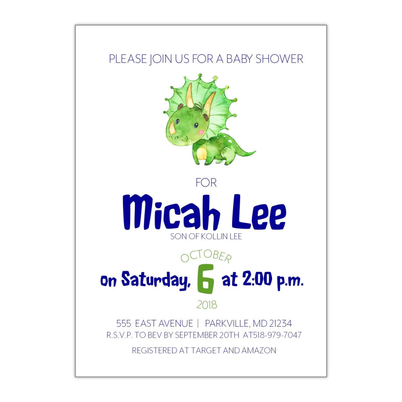 Baby Triceratops | Baby Shower Invitation - All That Glitters Invitations