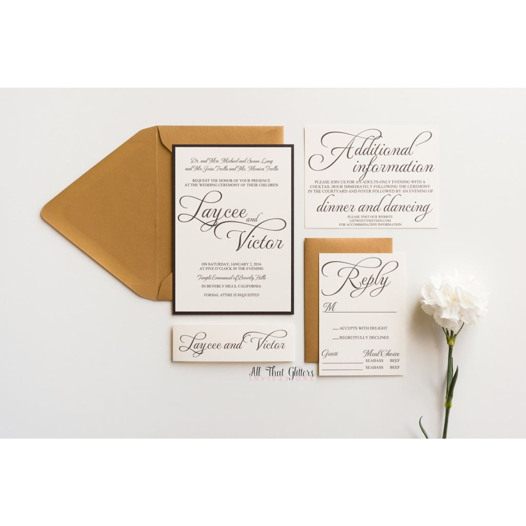 Basic Wedding Invitation, Laycee - All That Glitters Invitations