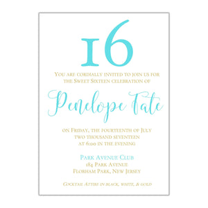 Big Sixteen Sweet 16 Invitation - All That Glitters Invitations
