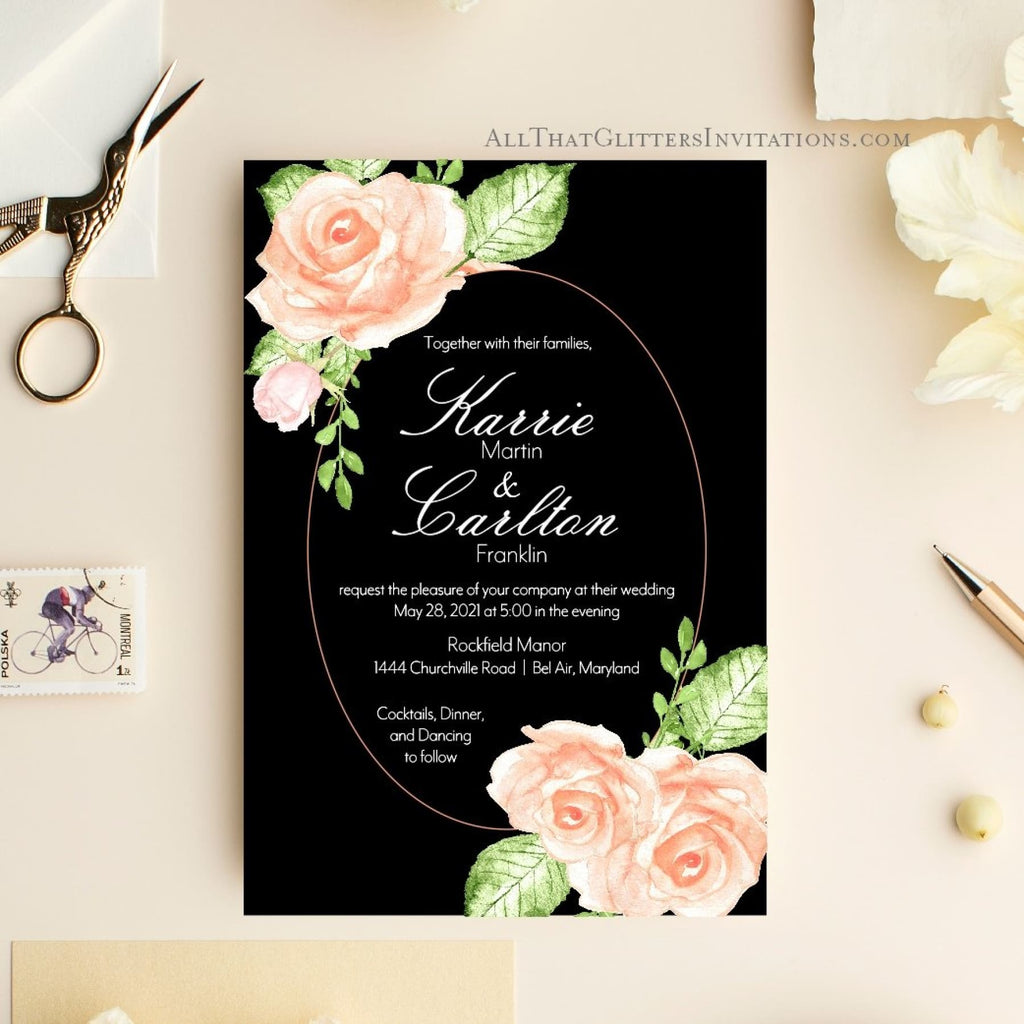 Black and Vintage Rose Wedding Invitation, Karrie - All That Glitters Invitations