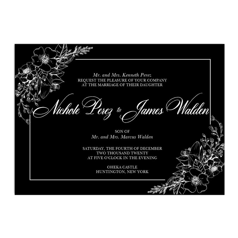 Black and White Hand Drawn Flower Wedding Invitation - All That Glitters Invitations