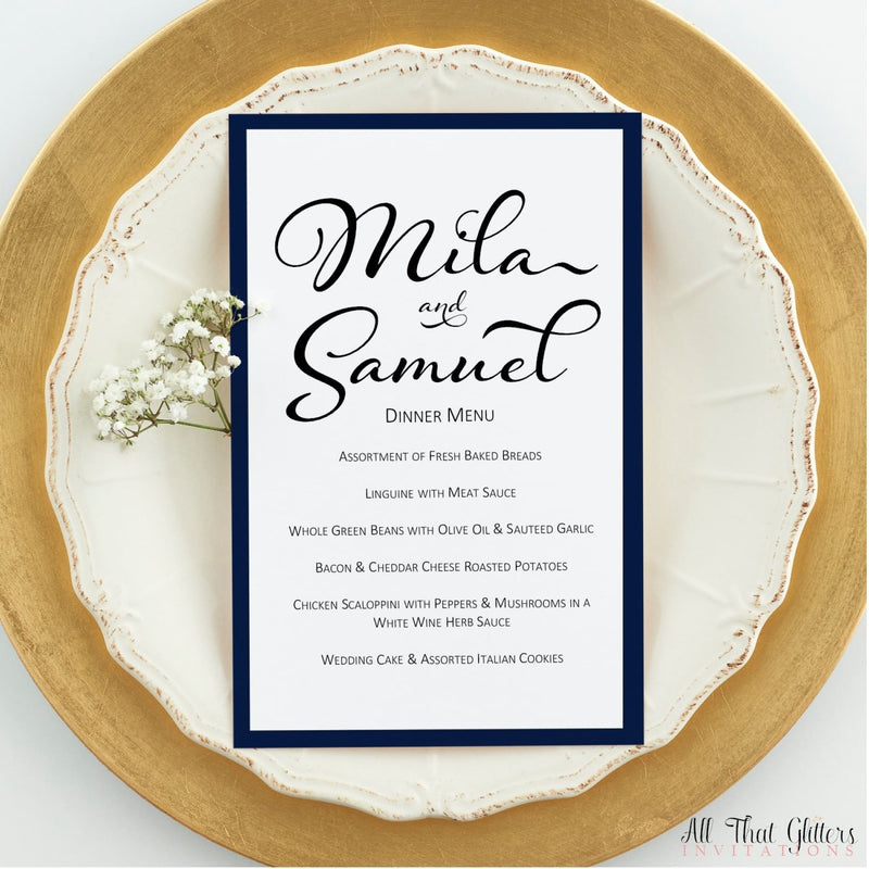 Black Tie Wedding Reception Menu, Mila - All That Glitters Invitations