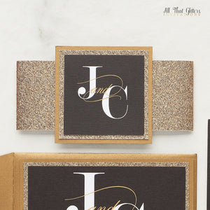 Black Wedding Invitation, Jamillia - All That Glitters Invitations