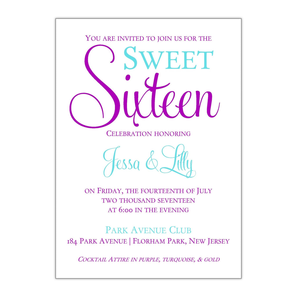 Bold and Fun Sweet 16 Invitation - All That Glitters Invitations