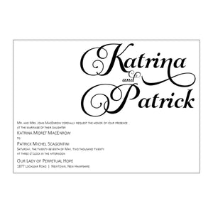 Bold Calligraphy Wedding Invitations, Katrina - All That Glitters Invitations