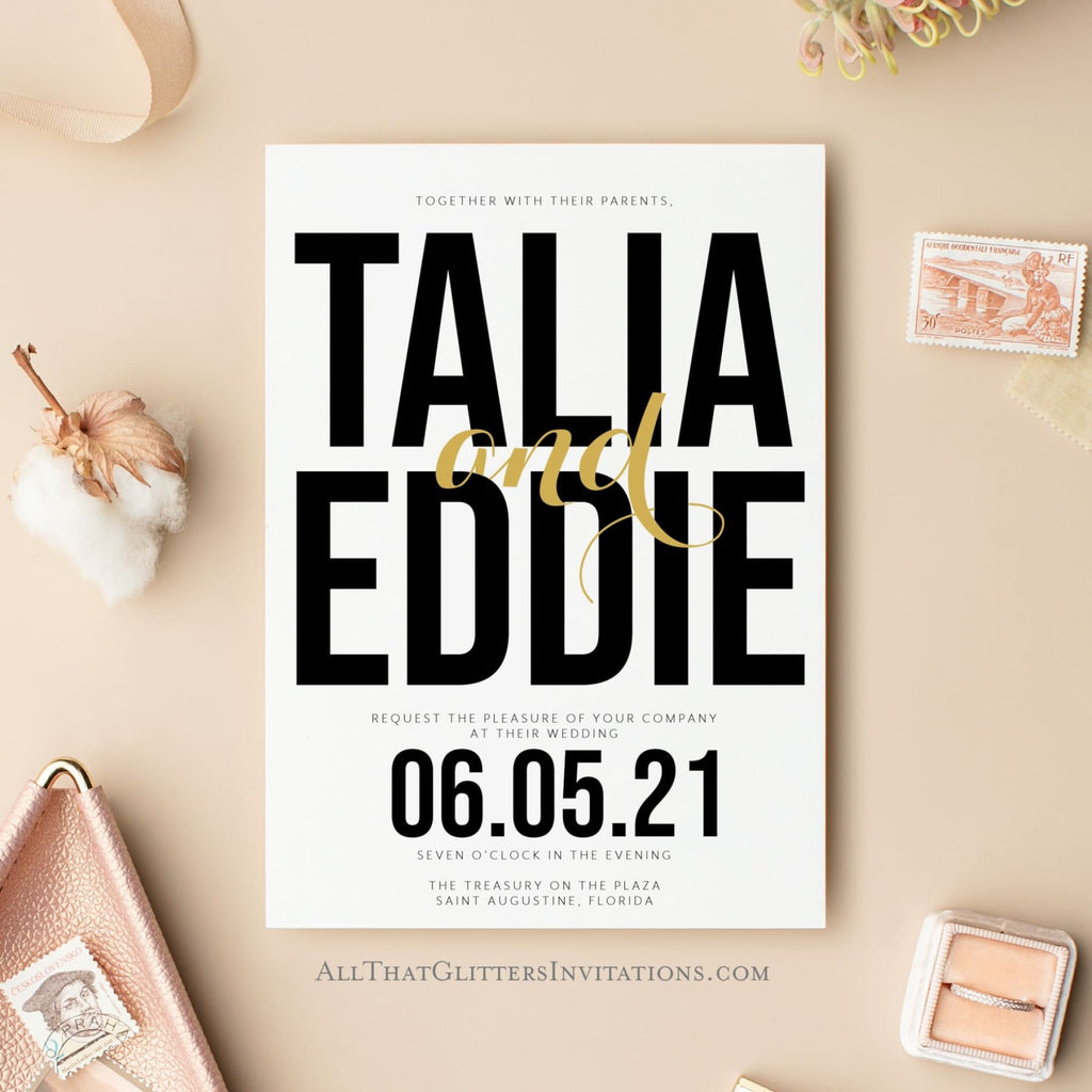 Bold + Modern Wedding Invite, Talia - All That Glitters Invitations