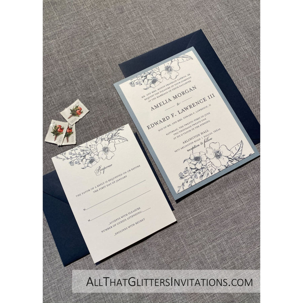 Botanic Floral Wedding Invitation Traditional - All That Glitters Invitations