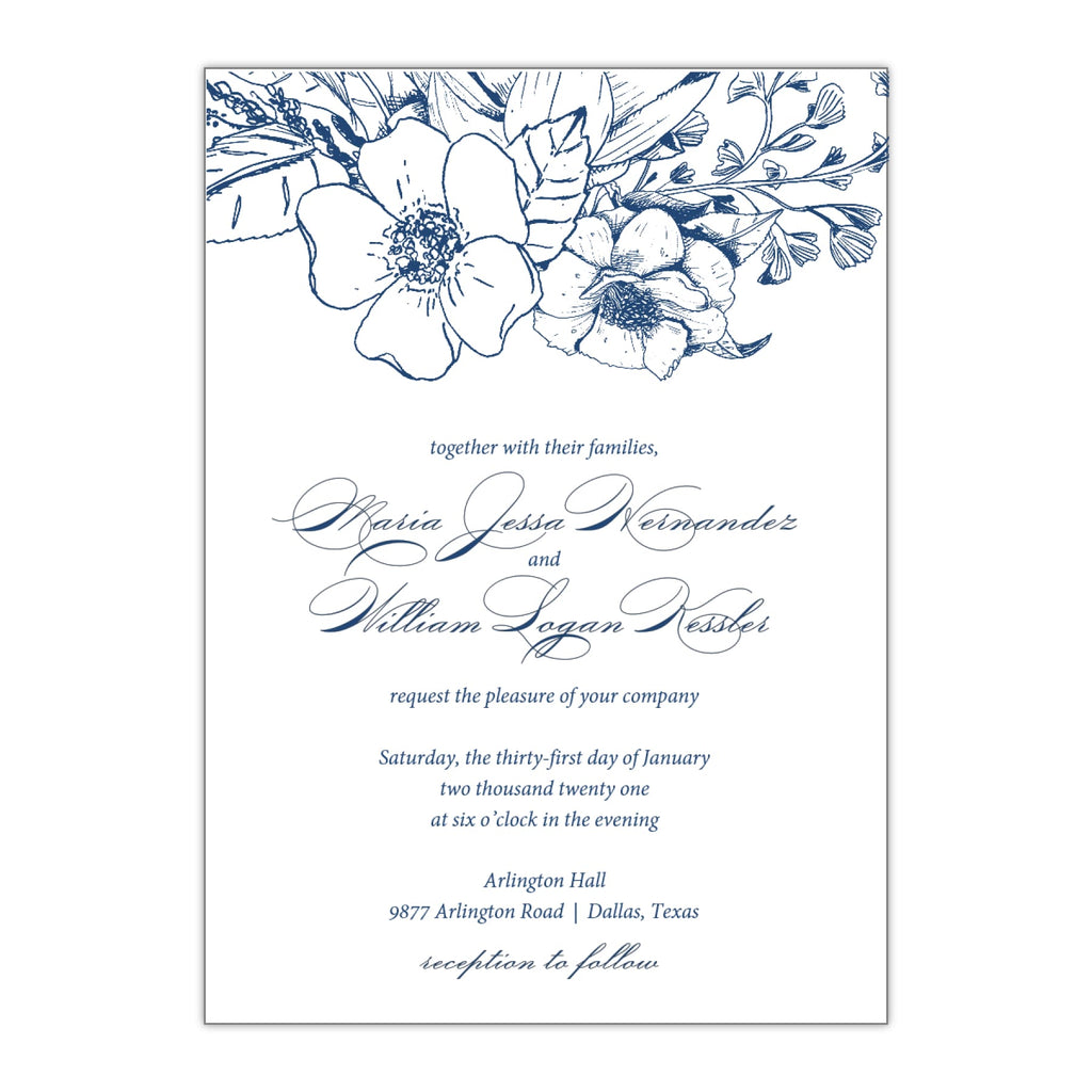 Botanic Florals Wedding Invitation - All That Glitters Invitations