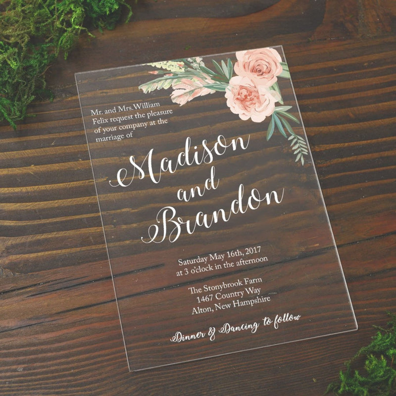 Bouquet Acrylic Wedding Invitation - All That Glitters Invitations