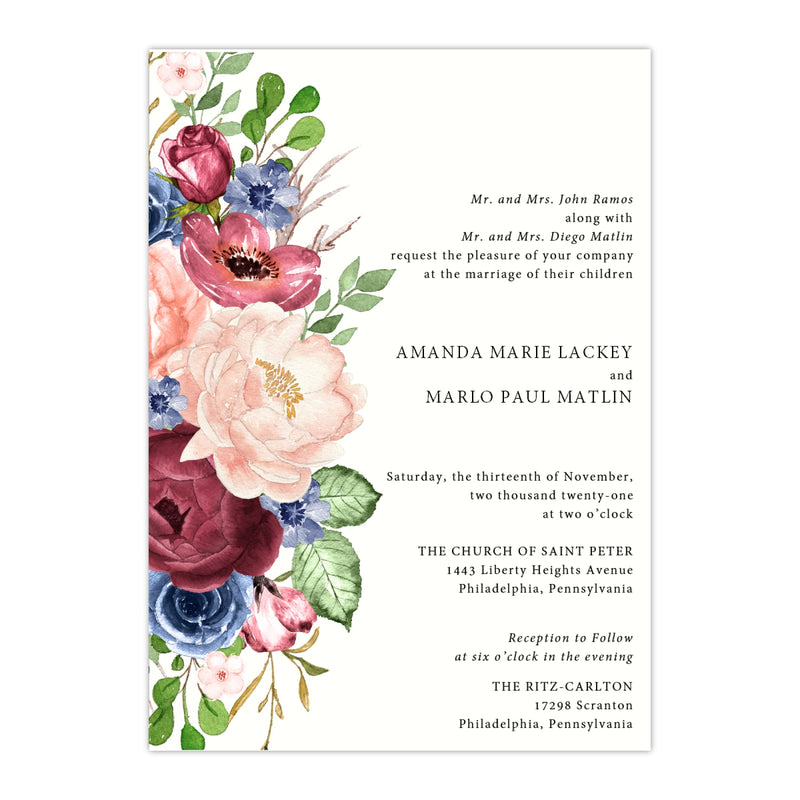 Burgundy Bouquet Wedding Invitation - All That Glitters Invitations