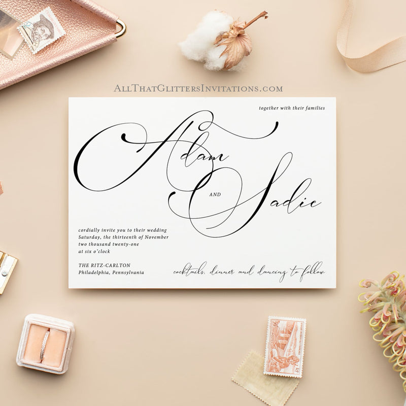 Calligraphy Wedding Invitation, Modern Adam - All That Glitters Invitations