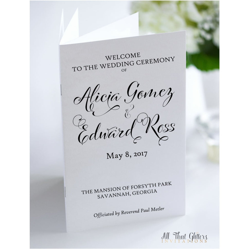 Ceremony Program, 12 Page Book - All That Glitters Invitations