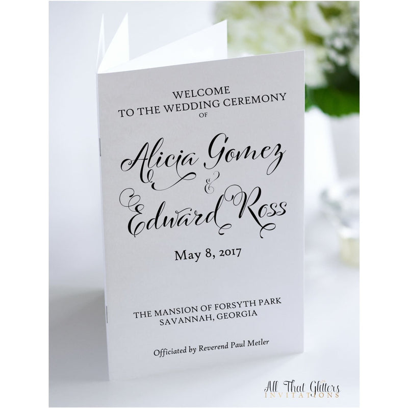 Ceremony Program, 8 Page Book - All That Glitters Invitations