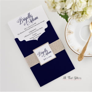 Ceremony Program, Bi-Fold Booklet with Pocket - All That Glitters Invitations