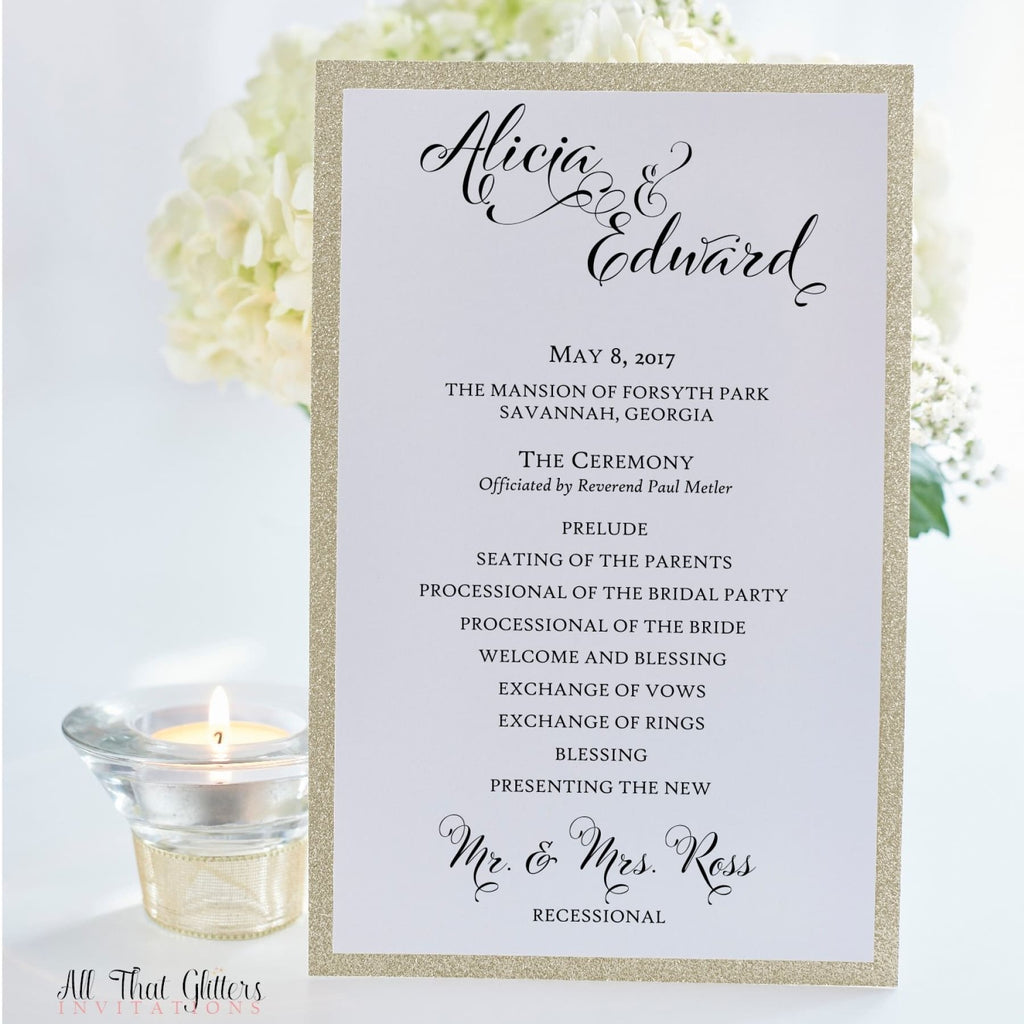 Ceremony Program, Flat (Glitter Backing) - All That Glitters Invitations