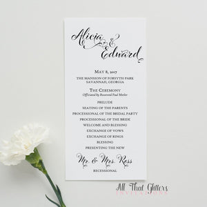 Ceremony Program, Flat (No Backing) - All That Glitters Invitations