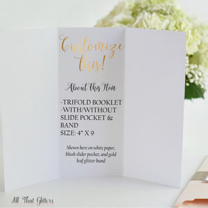 Ceremony Program, Tri-Fold Booklet with Pocket - All That Glitters Invitations