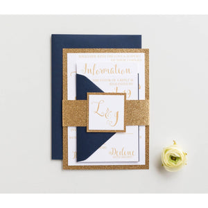 Classic Glitter Wedding Invitation, Laura - All That Glitters Invitations