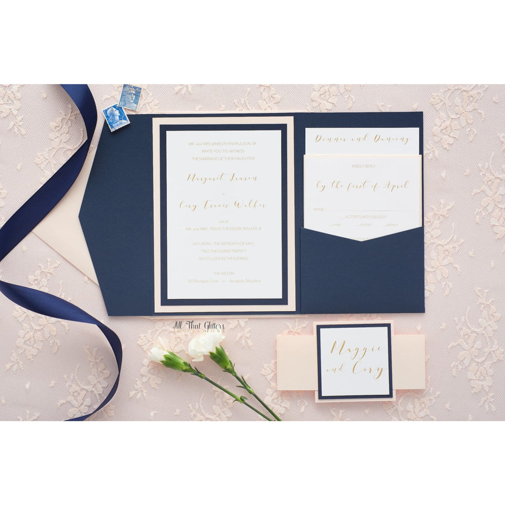 Classy Wedding Invitation, Maggie - All That Glitters Invitations