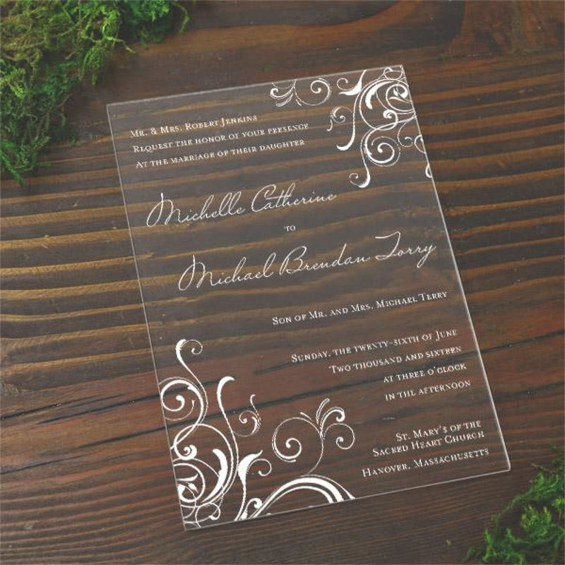 Corner Swirls Acrylic Wedding Invitations - All That Glitters Invitations