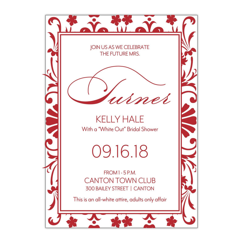 Damask Style Pattern Bridal Shower Invitation - All That Glitters Invitations