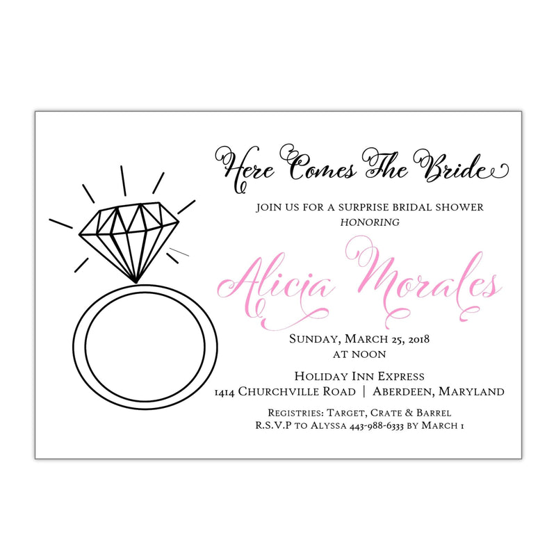 Diamond Ring Bridal Shower Invitation, Alicia - All That Glitters Invitations