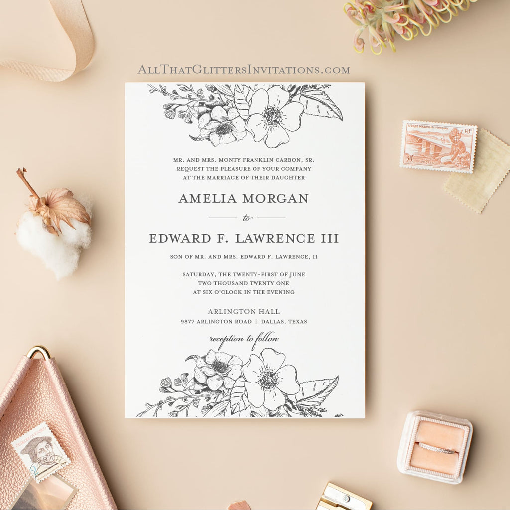 Double Botanic Florals Wedding Invitation - All That Glitters Invitations