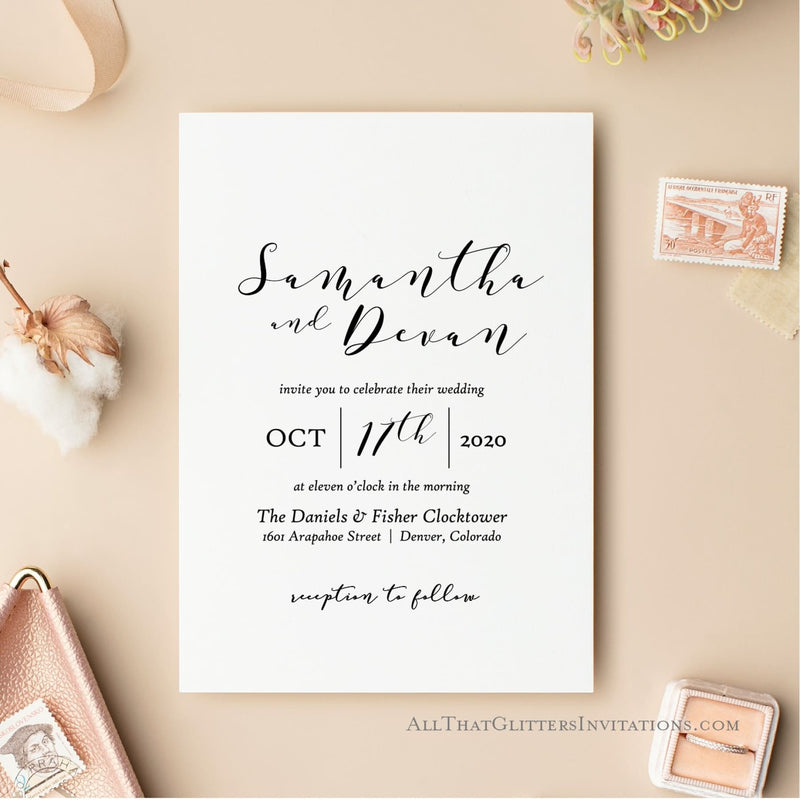 Elegant and Sleek Wedding Invitation, Samantha - All That Glitters Invitations