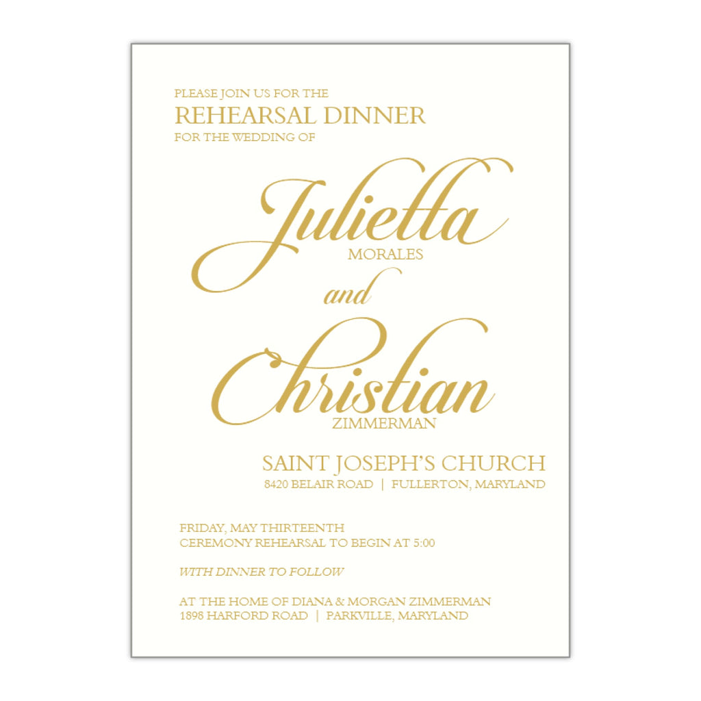 Elegant Calligraphy Rehearsal Dinner Invitation, Julietta - All That Glitters Invitations