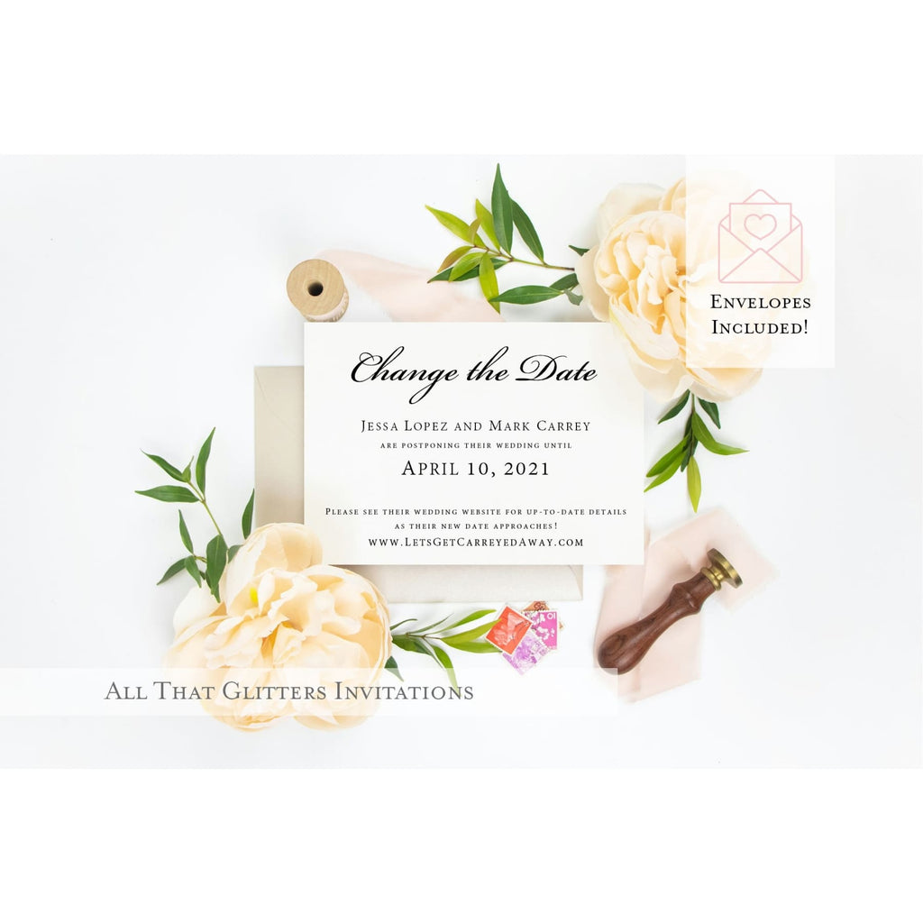 Elegant Change The Date Wedding Postponement Announcement - All That Glitters Invitations