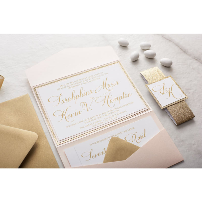 Elegant Glitter Wedding Invitation, Sarahphina - All That Glitters Invitations