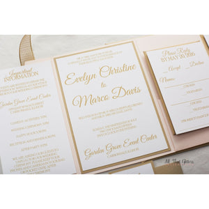 Elegant Pocketfold Wedding Invitation, Evelyn - All That Glitters Invitations