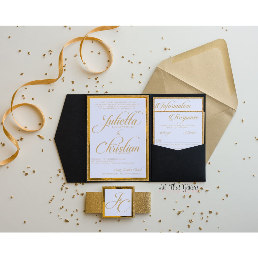 Elegant Pocketfold Wedding Invitation, Julietta - All That Glitters Invitations