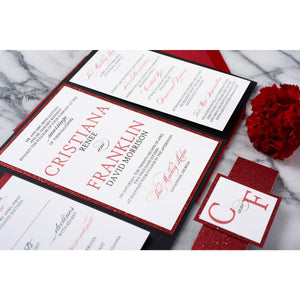 Elegant Wedding Invitation, Cristiana - All That Glitters Invitations
